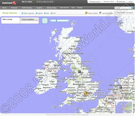TomTom Launch On Line Route Planner