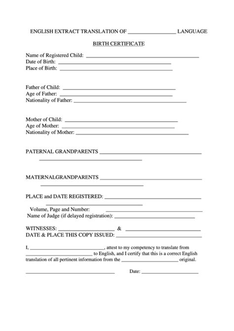 Top Birth Certificate Translation Templates free to ...