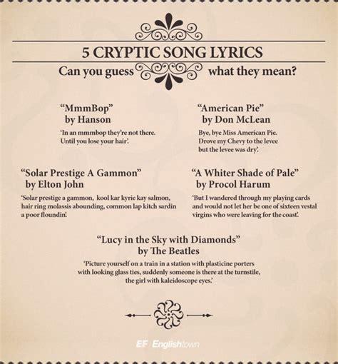 Top five most cryptic English song lyrics