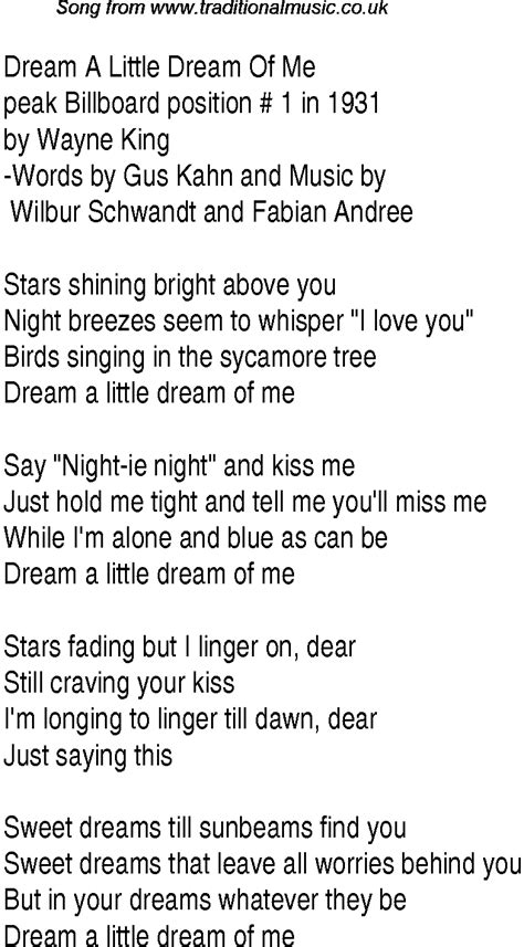 Top songs, 1931 music charts: lyrics for Dream A Little ...