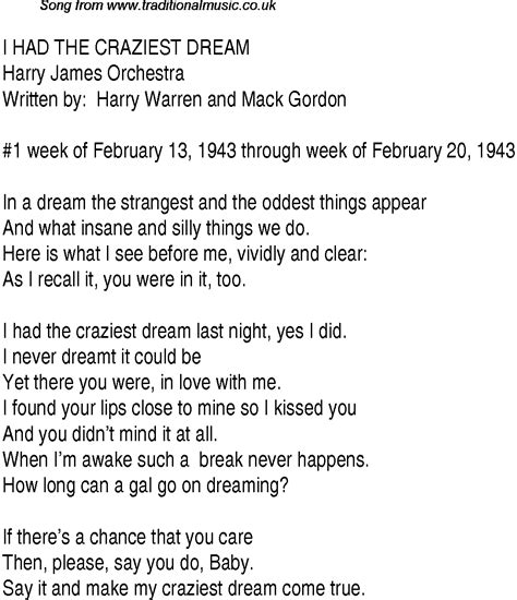 Top songs, 1943 music charts: lyrics for I Had The ...