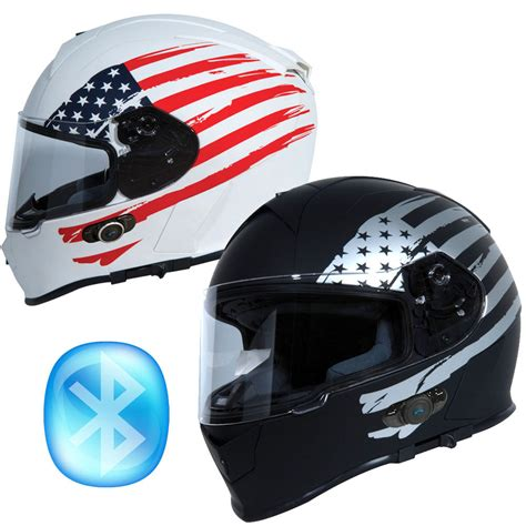 TORC T14B FLAG BLUETOOTH BUILT IN FULL FACE MOTORCYCLE ...