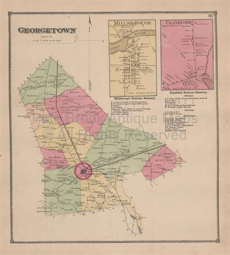 Town of Georgetown Delaware Antique Map Beers 1868 | Town ...