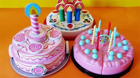 Toy velcro cutting birthday cakes strawberry cream ...