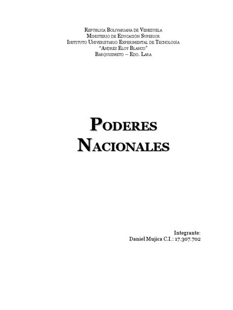 Trabajo Del Poder Publico Nacional de la República ...
