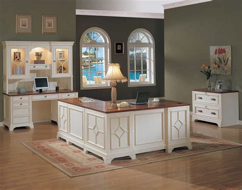 Traditional Distressed White Home Office Furniture with ...