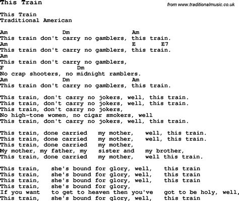 Traditional Song This Train with Chords, Tabs and Lyrics