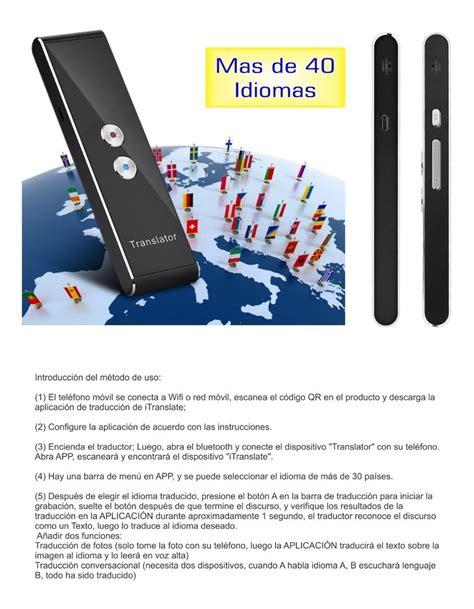 Traductor Instantaneo Bluetooth 40 Idiomas Bluetooth ...