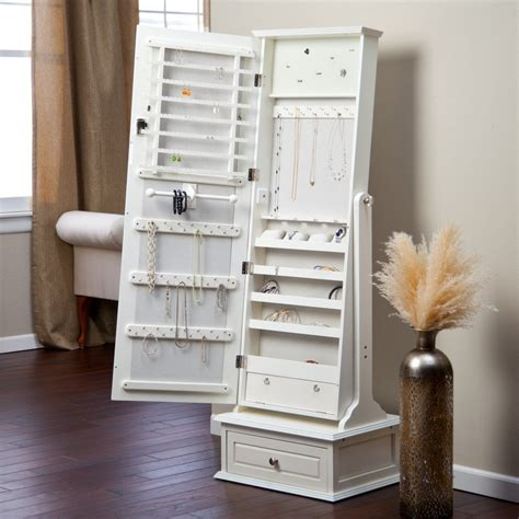 Transitional Cheval Mirror Jewelry Armoire with Base ...