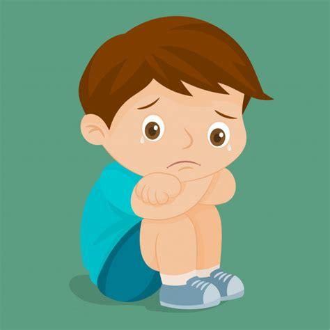 Triste niño llorando   Vector Premium