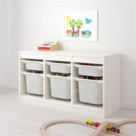 TROFAST Storage combination with boxes   white, turquoise ...