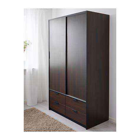 TRYSIL wardrobe w sliding doors/4 drawers, dark brown ...