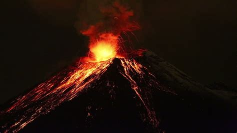 Tungurahua Volcano Eruption By Night, Stock Footage Video ...