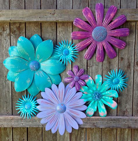Turquoise Purple Passion Metal Fence/Wall Flowers   9 Pc ...