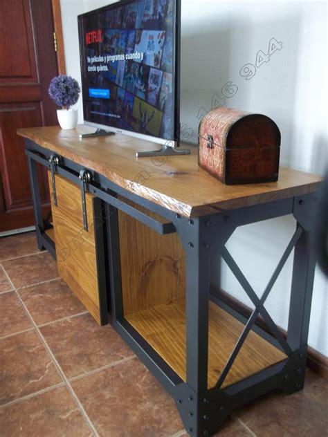 Tv Hierro Madera Estilo Industrial Rack Living Ferromadera ...