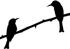 Two Birds on Branch Silhouette | Free vector silhouettes