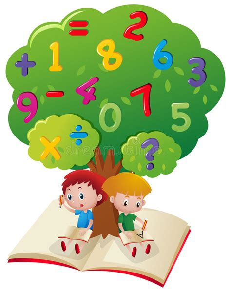 Two Boys Studying Math Under Tree Stock Vector ...
