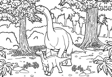 Two Diplodocus   Dinosaurs Adult Coloring Pages