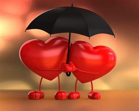 Two Hearts Valentine Hearts Love Hearts With Umbrella ...