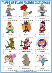 Types of Films ESL Printable Vocabulary Worksheets