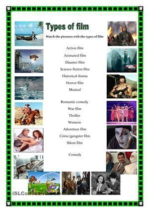 Types of films worksheet   Free ESL printable worksheets ...
