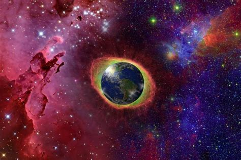 Ubicación real de la tierra en el universo entero y galaxias.