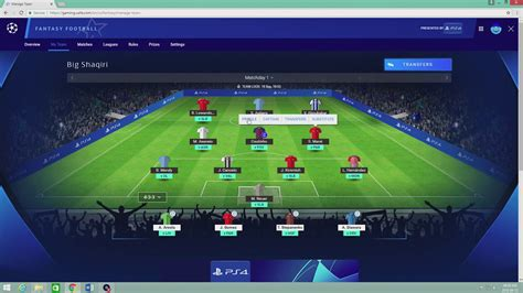 UEFA CHAMPIONS LEAGUE FANTASY!  UCL 2018/2019  TEAM   YouTube
