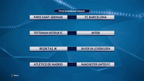 UEFA Champions League First Knockout Round 2018/2019 ...