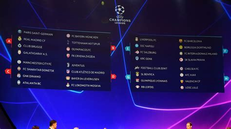 UEFA Champions League: Full group stage fixture schedule ...