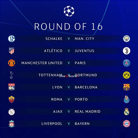 UEFA Champions League round of 16 draw   2018/2019