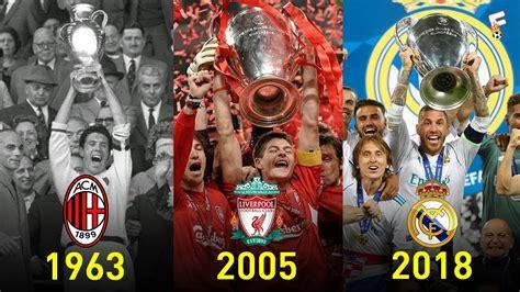 UEFA Champions League Winners 1956   2018  Footchampion ...