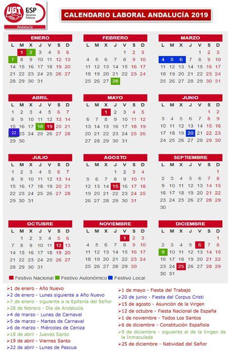 UGT   Informa. Calendario Laboral Andalucía 2019