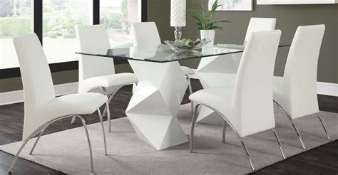 ULTRA MODERN WHITE ZIGZAG DINING TABLE 6 ARCHED CHAIRS ...