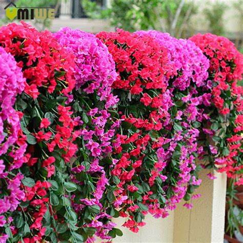 Umiwe Leafy Violet Artificial Silk Fake Flowers Vine ...