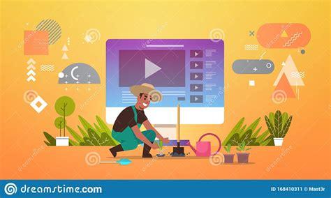 Un Contadino Che Registra Un Video blogger Online Che ...