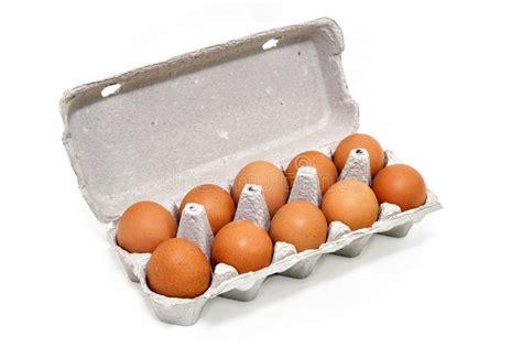 Un Docena Huevos Del Pollo En Un Envase De La Cartulina ...