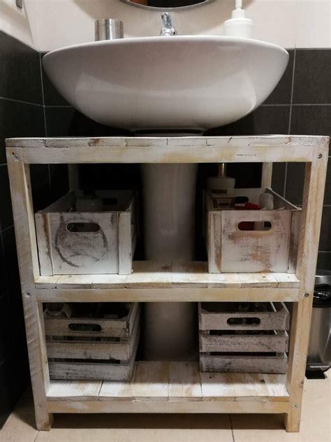 Un mueble con palets rústico para el lavabo – I Love Palets