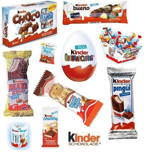 Un pedacito Kinder leche  y otros tipos de productos