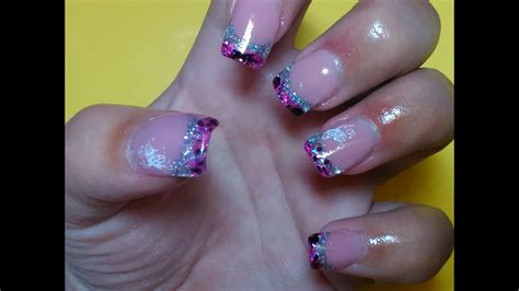 Uñas de gel PLATA y FUCSIA   Nail gel PINK & SILVER   YouTube