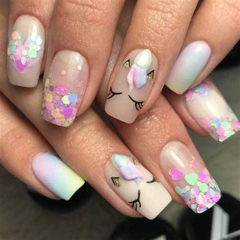 uñas decoradas con unicornio para niñas   Uñas para niñas ...