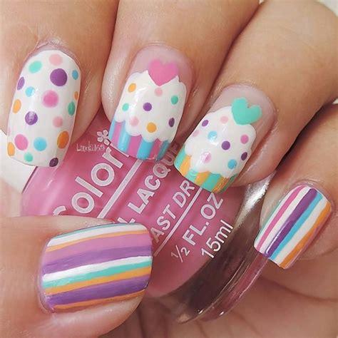 uñas faciles para niñas cupcake   Manicura de uñas, Uñas ...