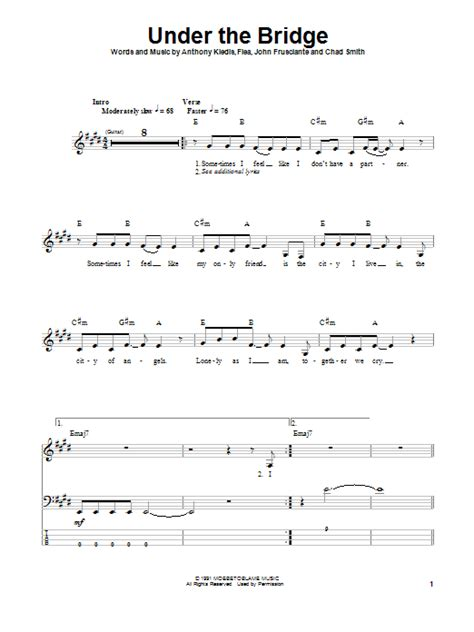 Under The Bridge Sheet Music | Red Hot Chili Peppers ...
