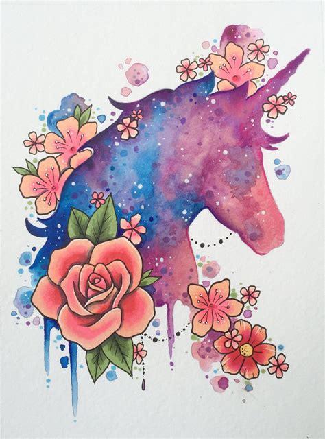 Unicorn art print, tattoo print, galaxy art, cosmic ...