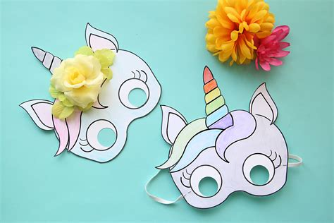 Unicorn Mask Free Printable Template.   Oh My Fiesta! in ...