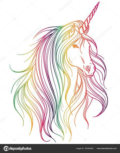 Unicornio con colores del arco iris sobre fondo blanco ...
