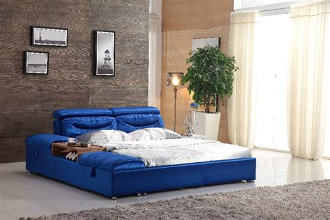 Unique king size blue farbic bed frame 0414 601 in Beds ...