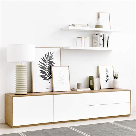 Unite mueble de TV 200 cm blanco y roble   Kenay Home