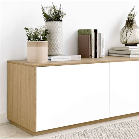 Unite mueble de TV 240 cm blanco y roble   Kenay Home en ...