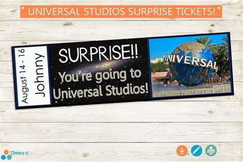 Universal Studios Surprise Trip Reveal Tickets // Adobe ...