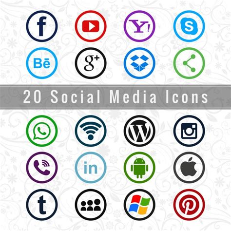 Útiles iconos de redes sociales   Descargar Vectores gratis